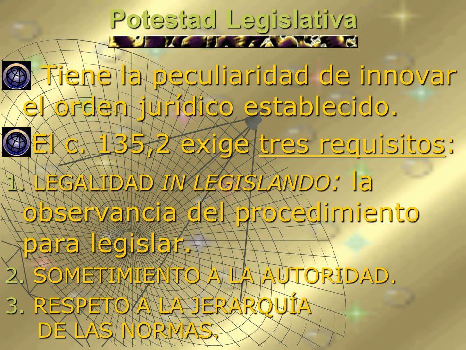 Potestad Legislativa Tiene la peculiaridad de innovar el orden jurídico establecido. Tiene la peculiaridad de innovar el orden jurídico establecido. E