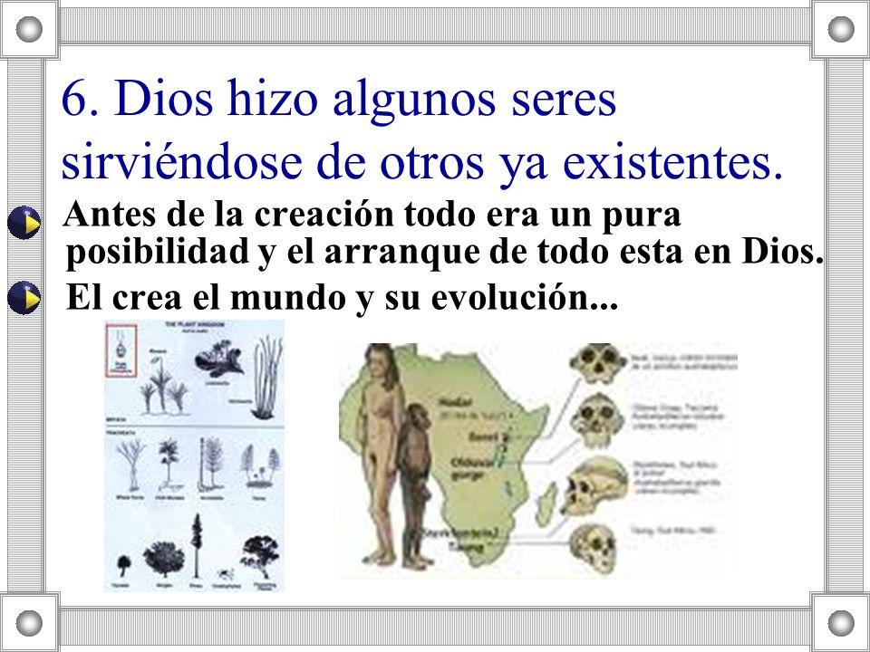 Antes de la creación todo era un pura posibilidad y el arranque de todo esta en Dios. El crea el mundo y su evolución... 6. Dios hizo algunos seres si
