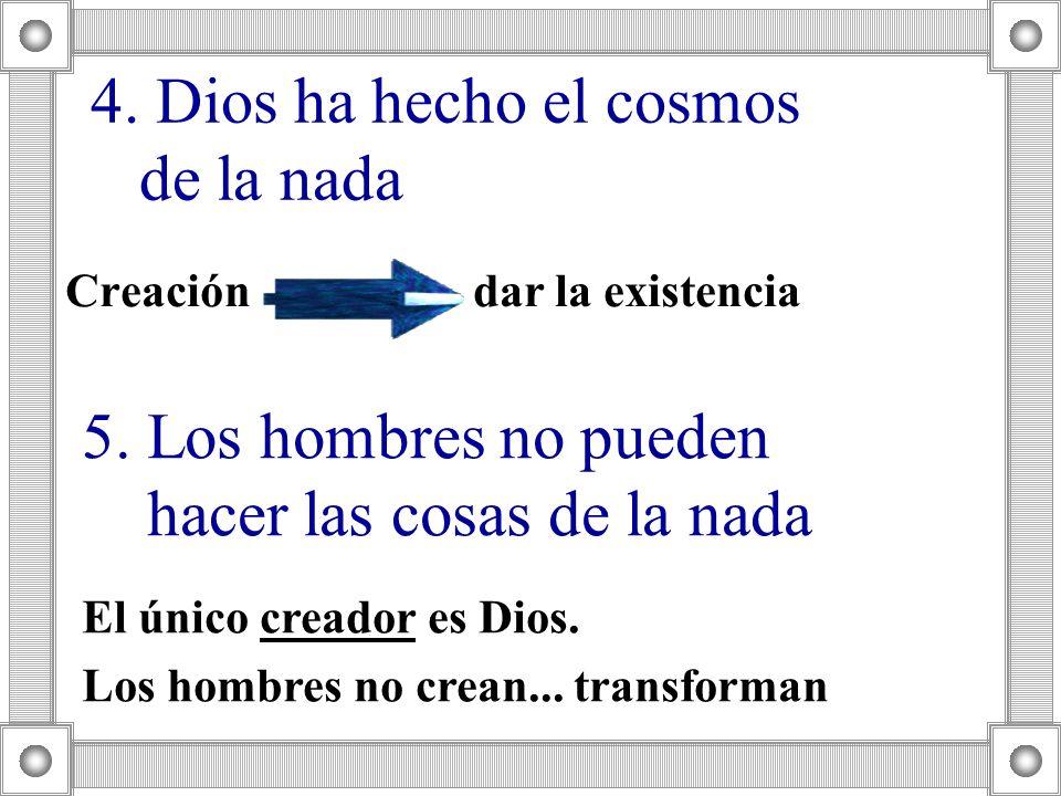 4. Dios ha hecho el cosmos de la nada Creación dar la existencia 5. Los hombres no pueden hacer las cosas de la nada El único creador es Dios. Los hom
