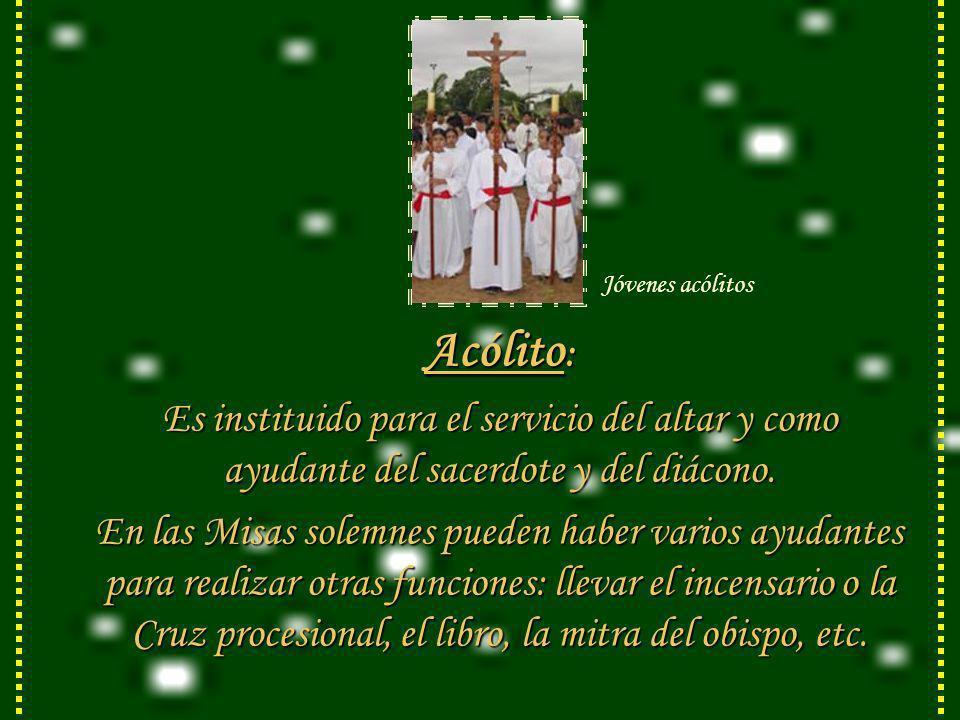 Acólito : Es instituido para el servicio del altar y como ayudante del sacerdote y del diácono.