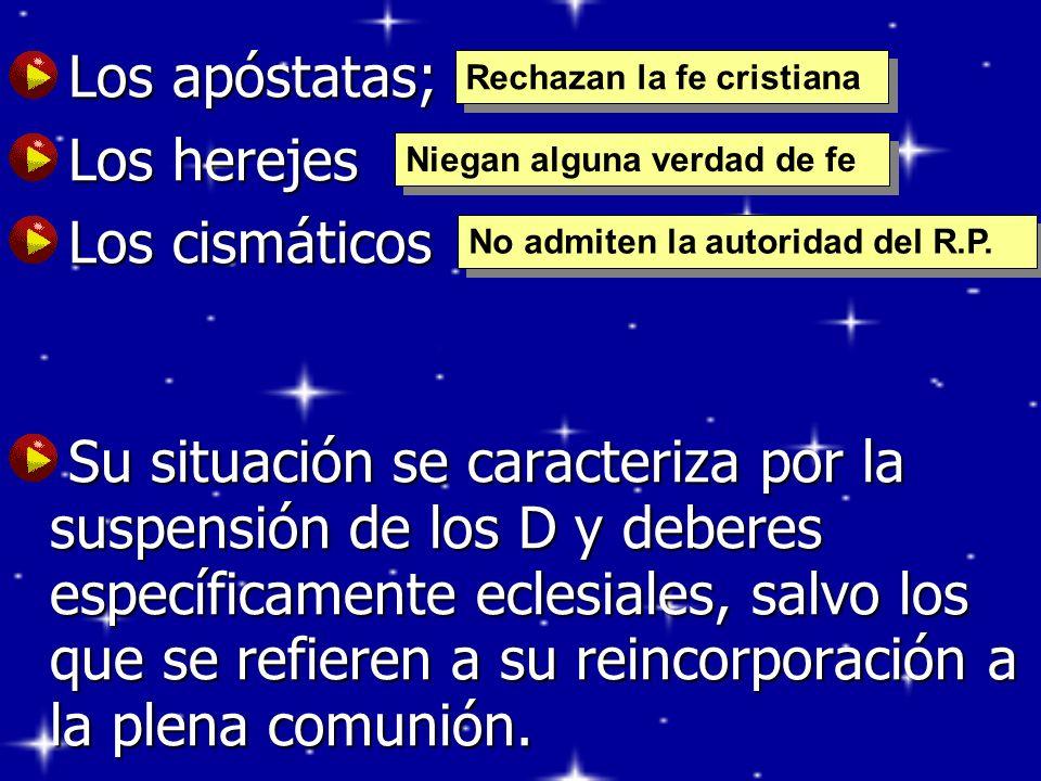 Los apóstatas; Los apóstatas; Los herejes Los herejes Los cismáticos Los cismáticos Su situación se caracteriza por la suspensión de los D y deberes e