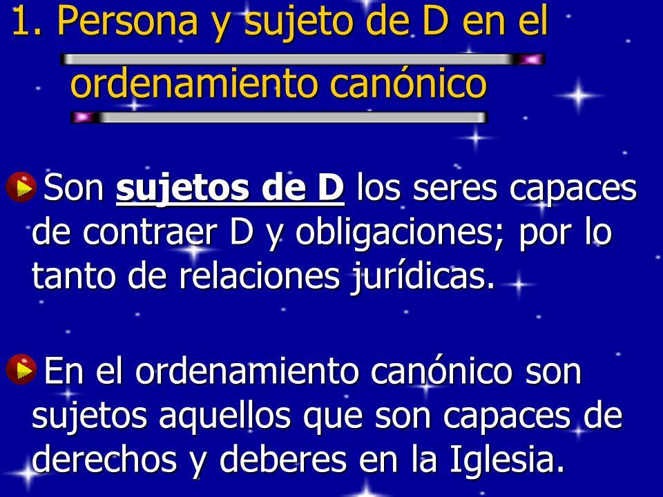 1. Persona y sujeto de D en el ordenamiento canónico Son sujetos de D los seres capaces de contraer D y obligaciones; por lo tanto de relaciones juríd