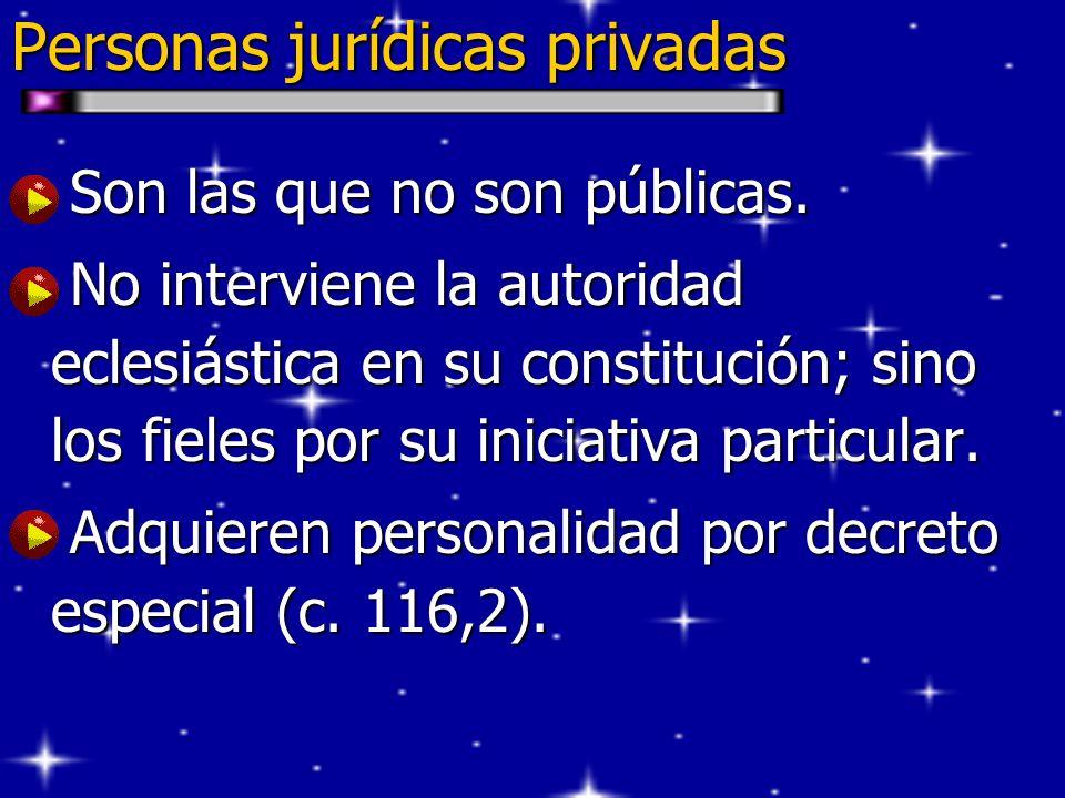 Personas jurídicas privadas Son las que no son públicas. Son las que no son públicas. No interviene la autoridad eclesiástica en su constitución; sino