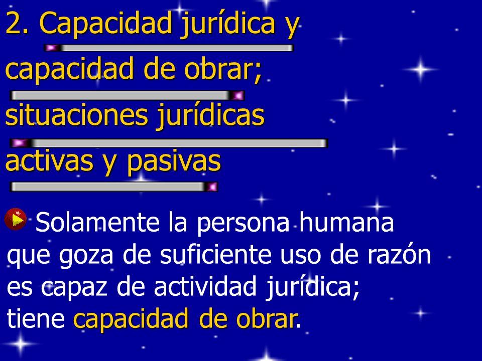2. Capacidad jurídica y capacidad de obrar; situaciones jurídicas activas y pasivas capacidad de obrar Solamente la persona humana que goza de suficie