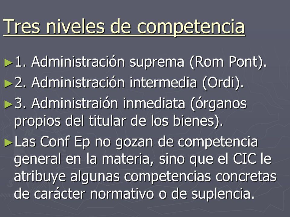 Tres niveles de competencia 1. Administración suprema (Rom Pont).