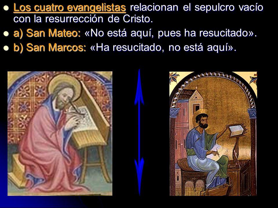 Los cuatro evangelistas relacionan el sepulcro vacío con la resurrección de Cristo. Los cuatro evangelistas relacionan el sepulcro vacío con la resurr