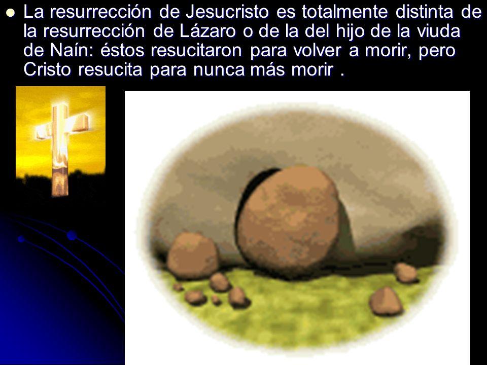 La resurrección de Jesucristo es totalmente distinta de la resurrección de Lázaro o de la del hijo de la viuda de Naín: éstos resucitaron para volver