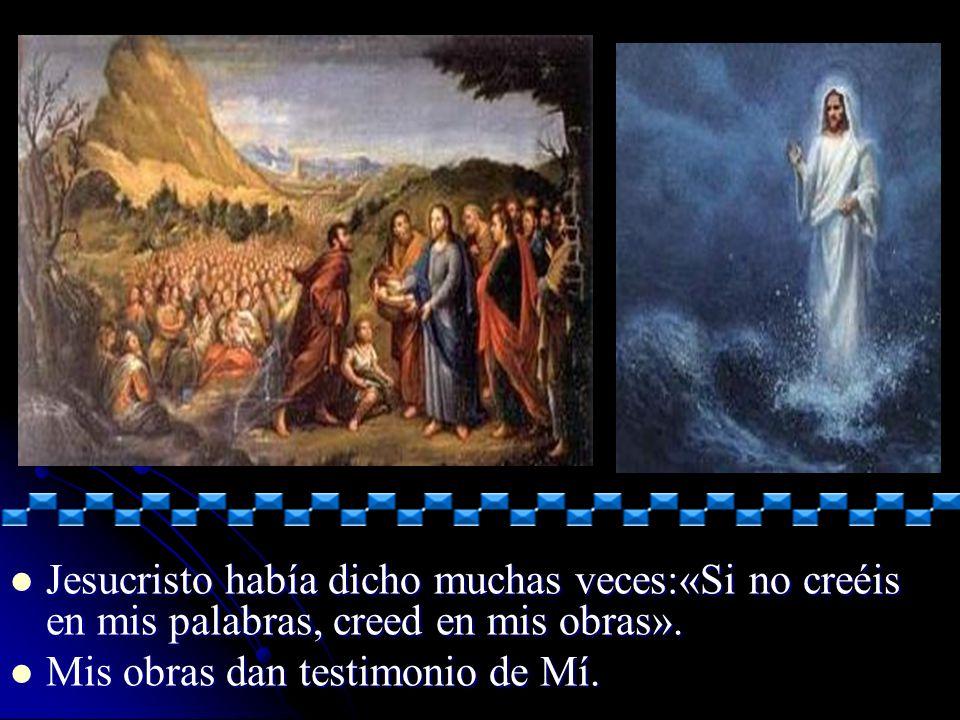 Jesucristo había dicho muchas veces:«Si no creéis en mis palabras, creed en mis obras». Jesucristo había dicho muchas veces:«Si no creéis en mis palab