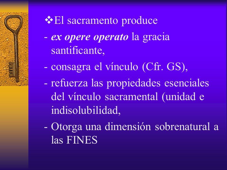El sacramento produce -ex opere operato la gracia santificante, -consagra el vínculo (Cfr. GS), -refuerza las propiedades esenciales del vínculo sacra