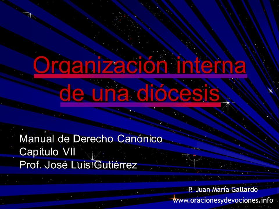 Organización interna de una diócesis Manual de Derecho Canónico Capítulo VII Prof. José Luis Gutiérrez P. Juan María Gallardo www.oracionesydevociones