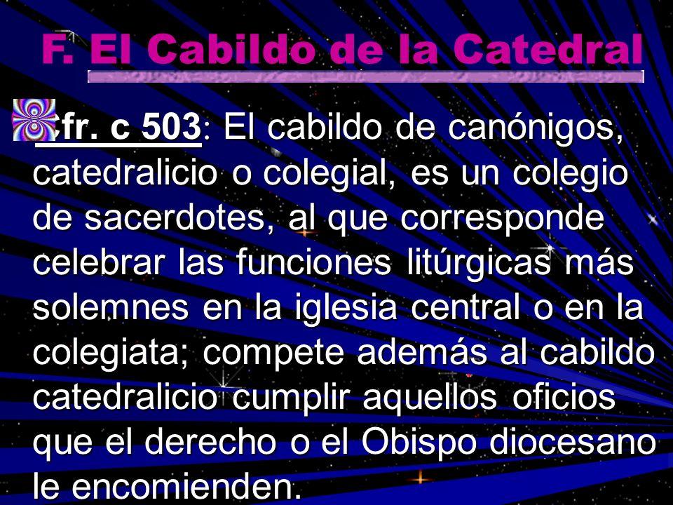 Cfr. c 503 : El cabildo de canónigos, catedralicio o colegial, es un colegio de sacerdotes, al que corresponde celebrar las funciones litúrgicas más s