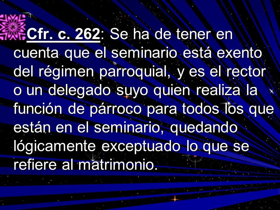 Cfr. c. 262: Se ha de tener en cuenta que el seminario está exento del régimen parroquial, y es el rector o un delegado suyo quien realiza la función