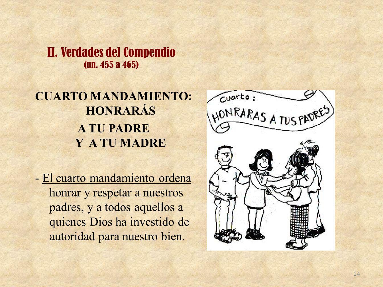II. Verdades del Compendio (nn. 455 a 465) CUARTO MANDAMIENTO: HONRARÁS A TU PADRE Y A TU MADRE - El cuarto mandamiento ordena honrar y respetar a nue