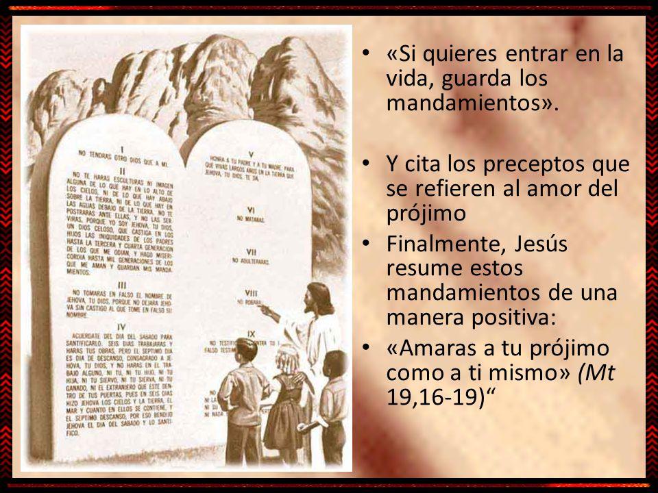 «Si quieres entrar en la vida, guarda los mandamientos». Y cita los preceptos que se refieren al amor del prójimo Finalmente, Jesús resume estos manda