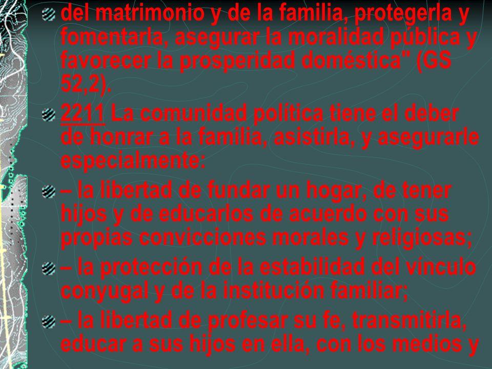 del matrimonio y de la familia, protegerla y fomentarla, asegurar la moralidad pública y favorecer la prosperidad doméstica