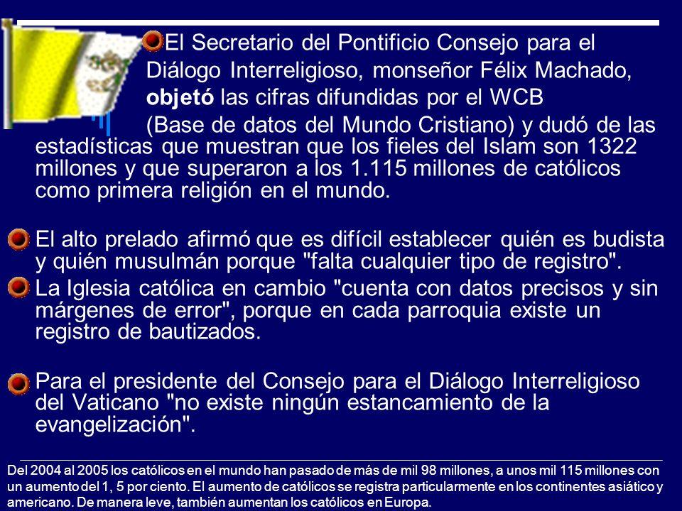 El Secretario del Pontificio Consejo para el Diálogo Interreligioso, monseñor Félix Machado, objetó las cifras difundidas por el WCB (Base de datos de