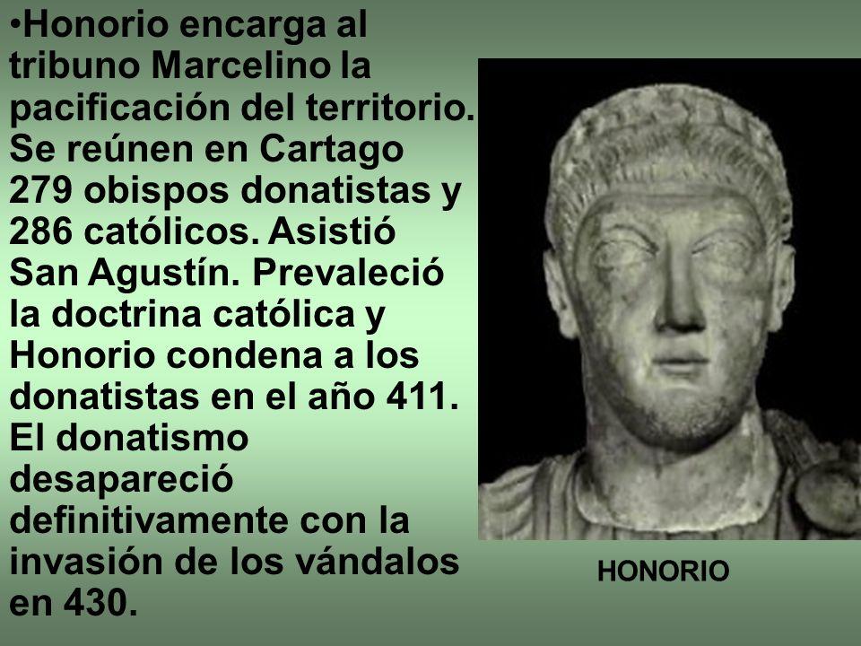 Honorio encarga al tribuno Marcelino la pacificación del territorio.