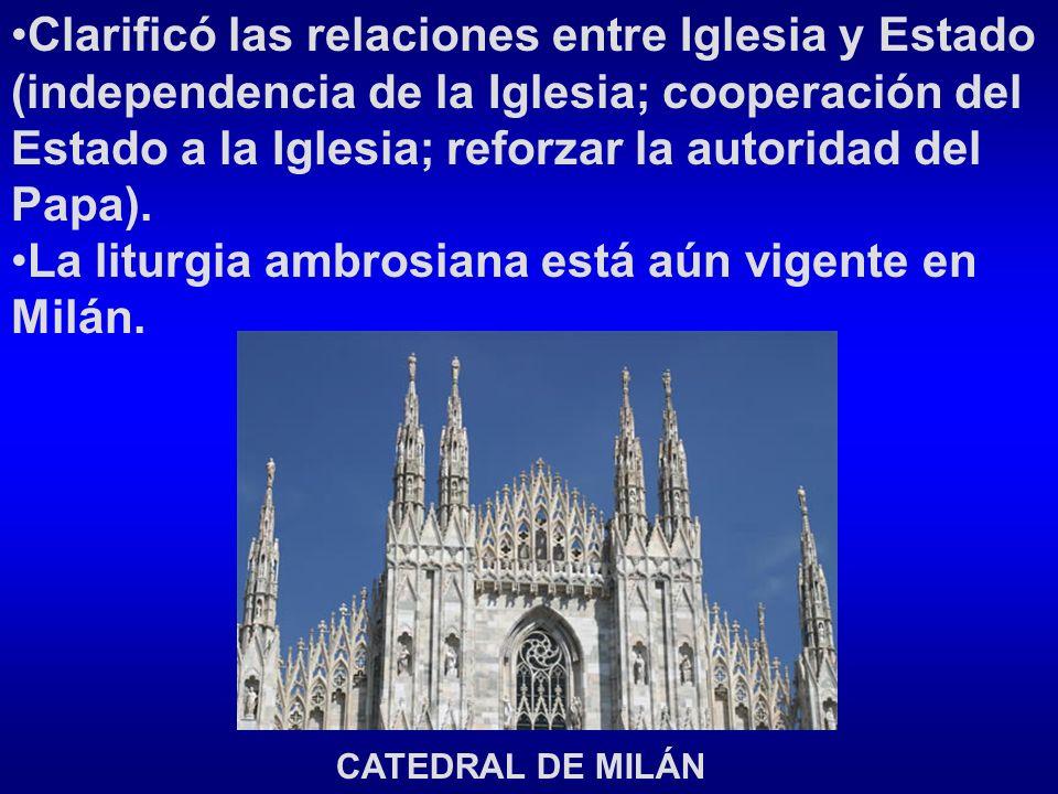 Clarificó las relaciones entre Iglesia y Estado (independencia de la Iglesia; cooperación del Estado a la Iglesia; reforzar la autoridad del Papa).