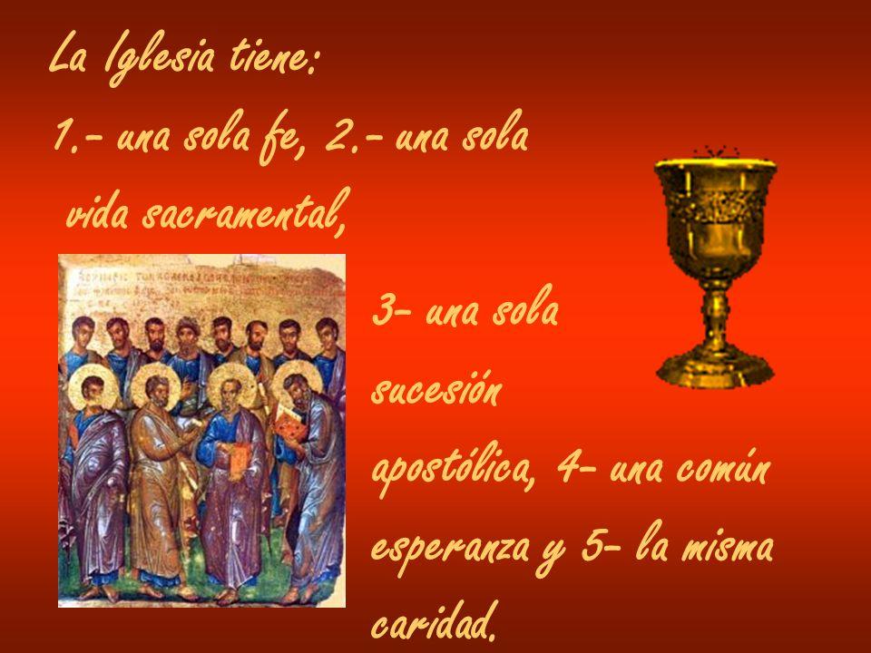 La Iglesia tiene: 1.- una sola fe, 2.- una sola vida sacramental, 3- una sola sucesión apostólica, 4- una común esperanza y 5- la misma caridad.