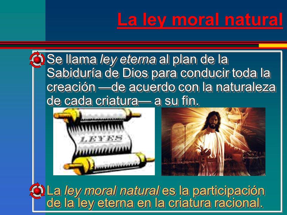 La ley moral natural Es la misma luz de la razón que permite distinguir el bien del mal, y manda hacer el bien y evitar el mal, para tender a Dios, nuestro fin último (Catecismo).