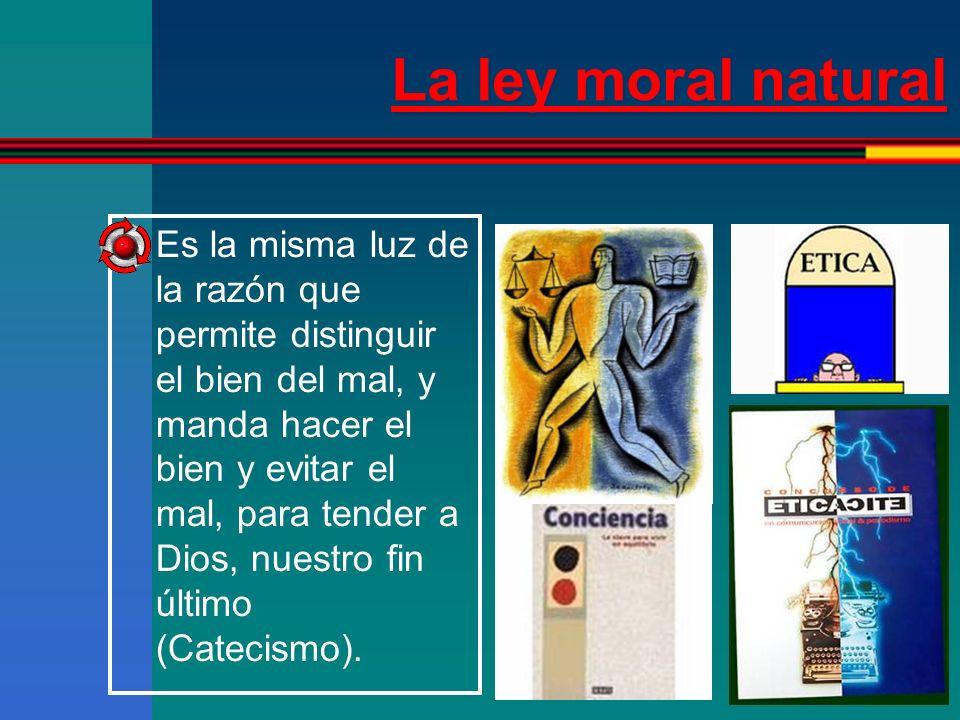 La ley moral natural UNIVERSAL INMUTABLE CARACTERÍSTICAS OBLIGATORIA Catecismo Grabada en el alma Dios la revela para que sea conocida por todos, sin dificultad y sin error
