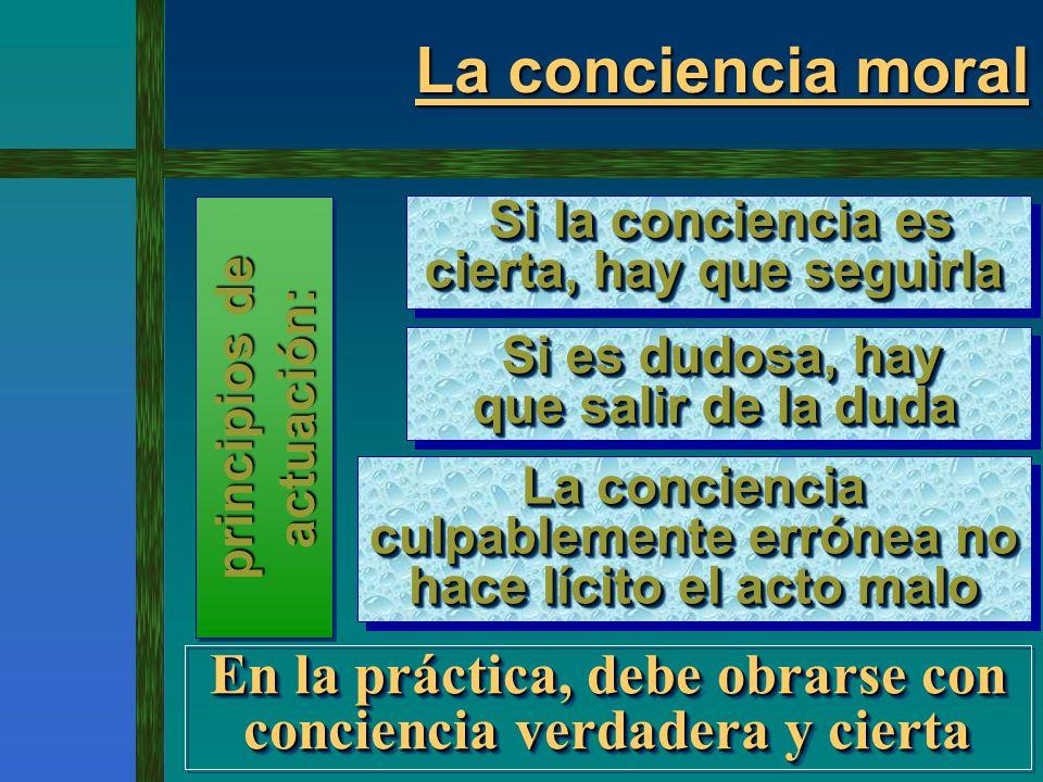 La conciencia moral El juicio de la conciencia El juicio de la conciencia no siempre no siempre es acertado...; - a causa del pecado, la luz de la conciencia la luz de la conciencia puede oscurecerse, puede oscurecerse, - no hasta el punto de quedar totalmente de quedar totalmente apagada apagada