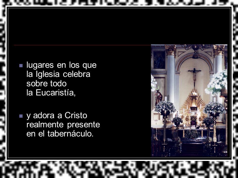lugares en los que la Iglesia celebra sobre todo la Eucaristía, y adora a Cristo realmente presente en el tabernáculo.