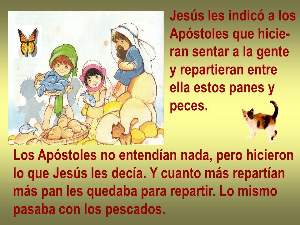 Jesús les indicó a los Apóstoles que hicie- ran sentar a la gente y repartieran entre ella estos panes y peces. Los Apóstoles no entendían nada, pero