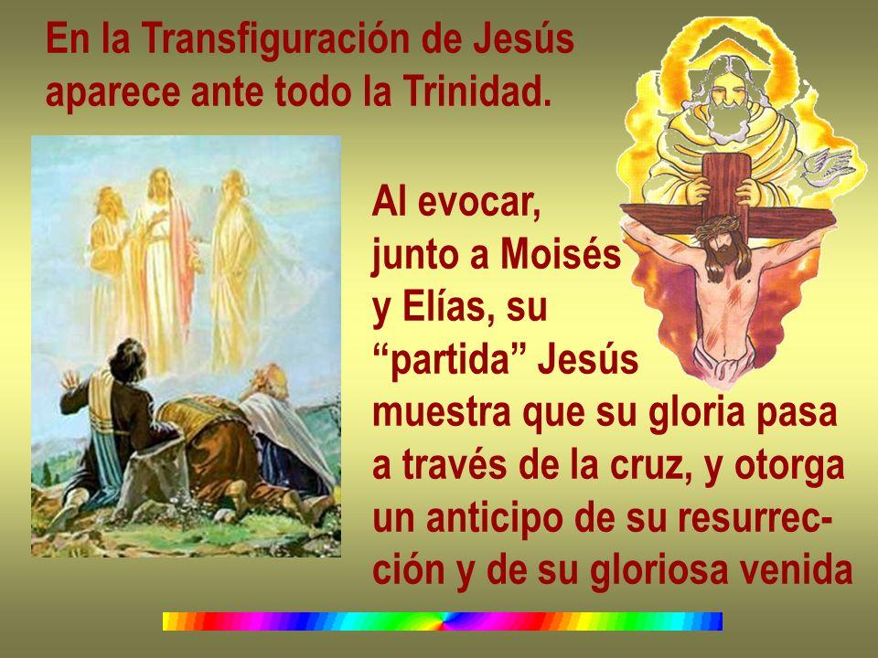 En la Transfiguración de Jesús aparece ante todo la Trinidad. Al evocar, junto a Moisés y Elías, su partida Jesús muestra que su gloria pasa a través