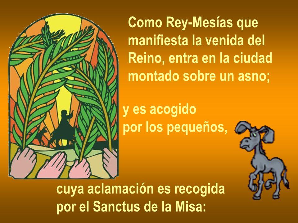 Como Rey-Mesías que manifiesta la venida del Reino, entra en la ciudad montado sobre un asno; y es acogido por los pequeños, cuya aclamación es recogi
