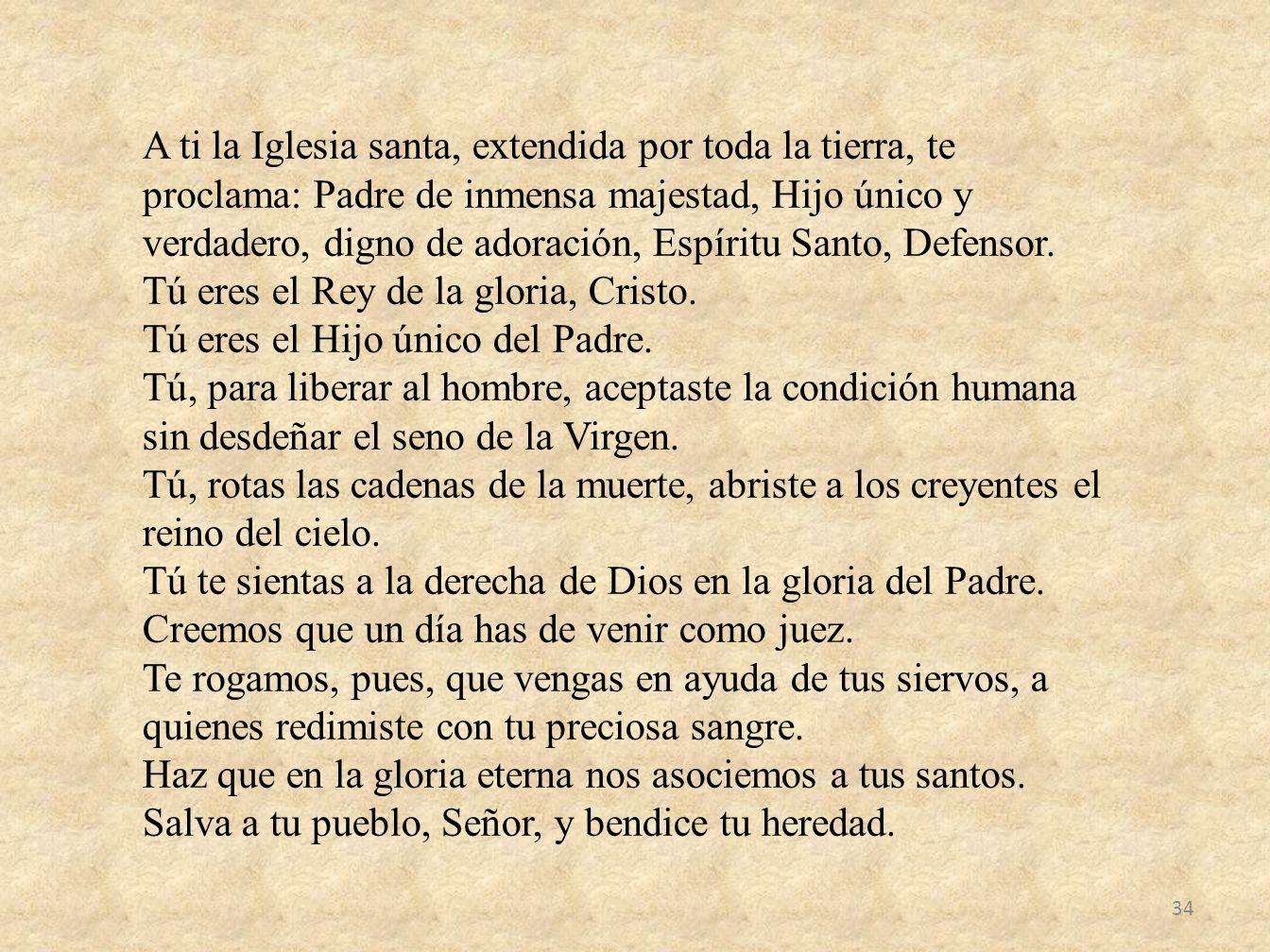 A ti la Iglesia santa, extendida por toda la tierra, te proclama: Padre de inmensa majestad, Hijo único y verdadero, digno de adoración, Espíritu Sant