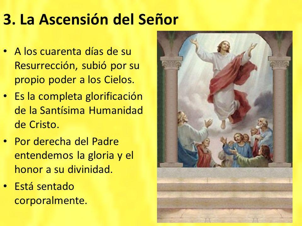 3. La Ascensión del Señor A los cuarenta días de su Resurrección, subió por su propio poder a los Cielos. Es la completa glorificación de la Santísima