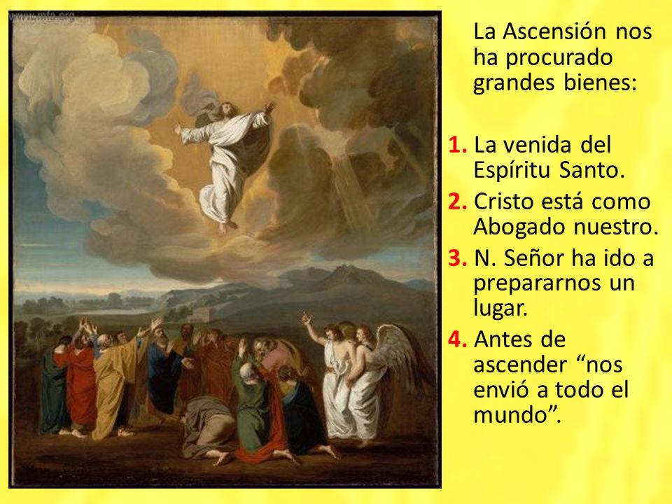 La Ascensión nos ha procurado grandes bienes: 1. La venida del Espíritu Santo. 2. Cristo está como Abogado nuestro. 3. N. Señor ha ido a prepararnos u