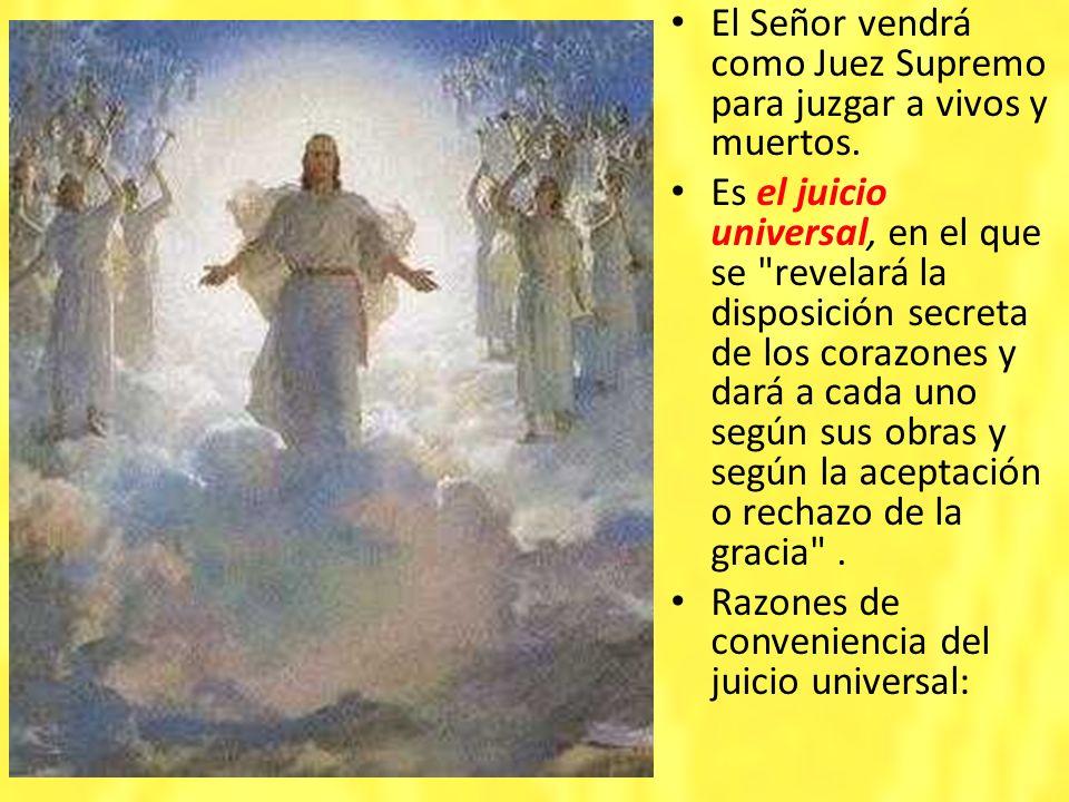 El Señor vendrá como Juez Supremo para juzgar a vivos y muertos. Es el juicio universal, en el que se