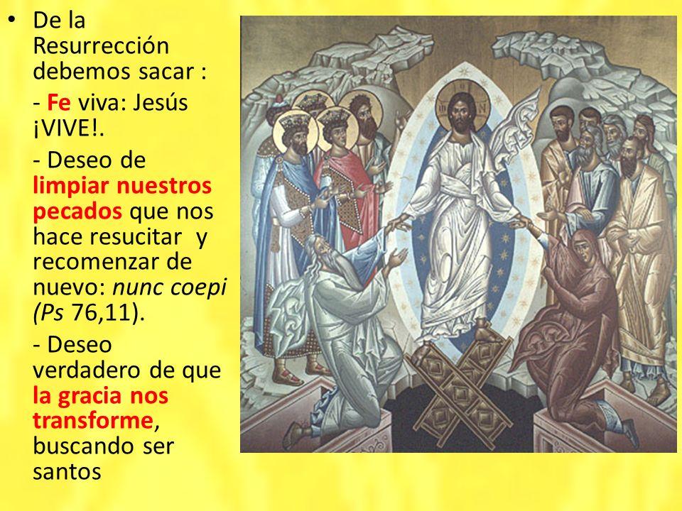 De la Resurrección debemos sacar : - Fe viva: Jesús ¡VIVE!. - Deseo de limpiar nuestros pecados que nos hace resucitar y recomenzar de nuevo: nunc coe