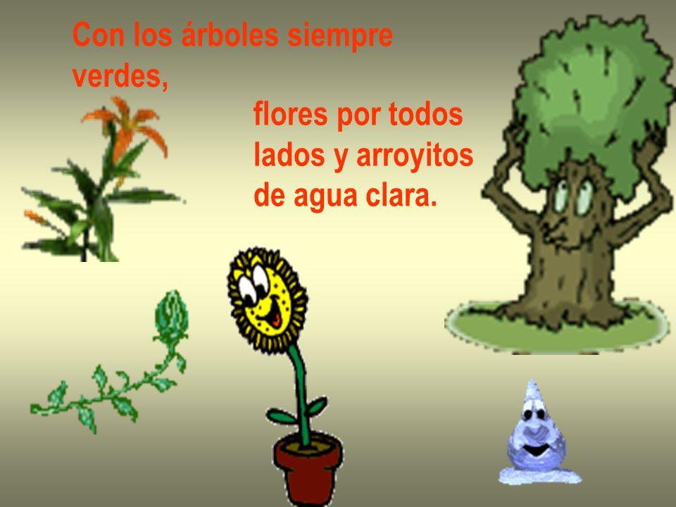 Con los árboles siempre verdes, flores por todos lados y arroyitos de agua clara.