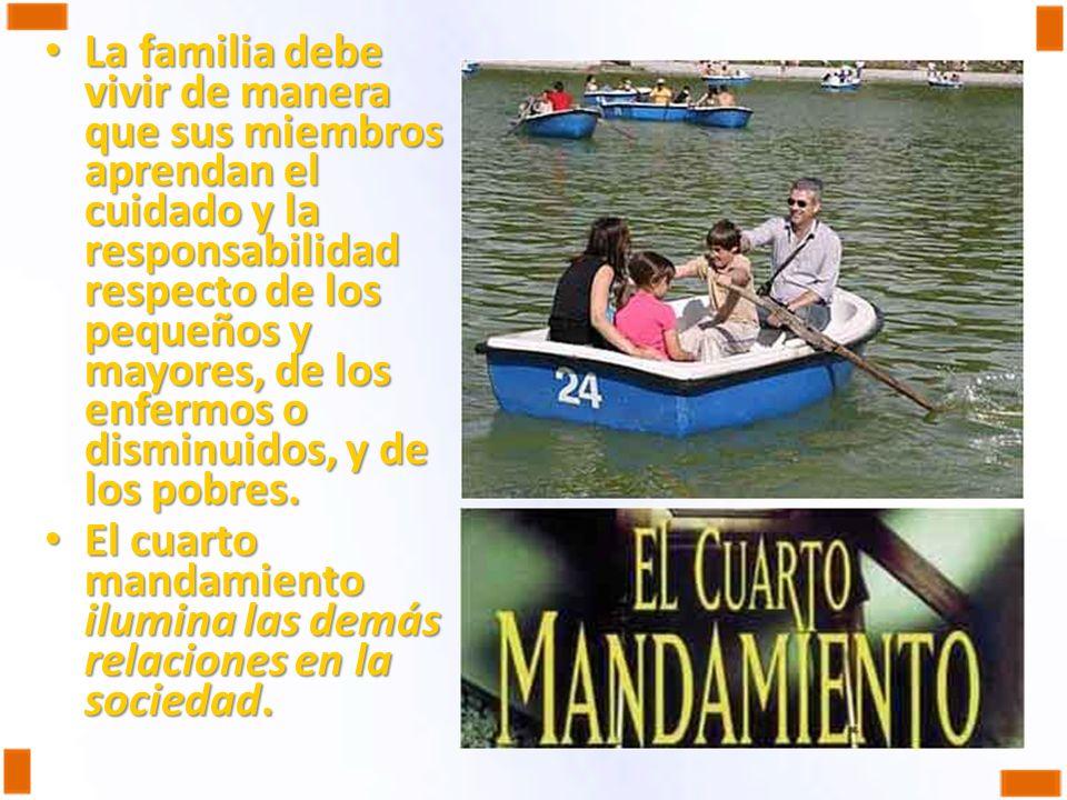 La familia debe vivir de manera que sus miembros aprendan el cuidado y la responsabilidad respecto de los pequeños y mayores, de los enfermos o dismin