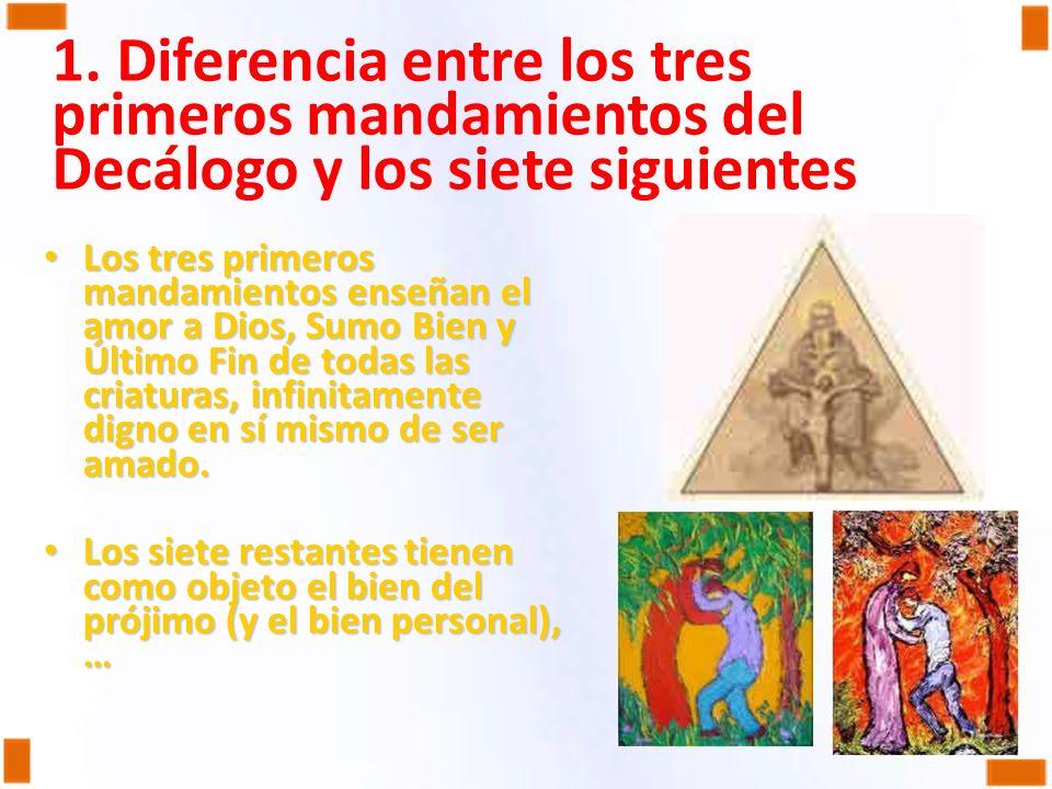 1. Diferencia entre los tres primeros mandamientos del Decálogo y los siete siguientes Los tres primeros mandamientos enseñan el amor a Dios, Sumo Bie