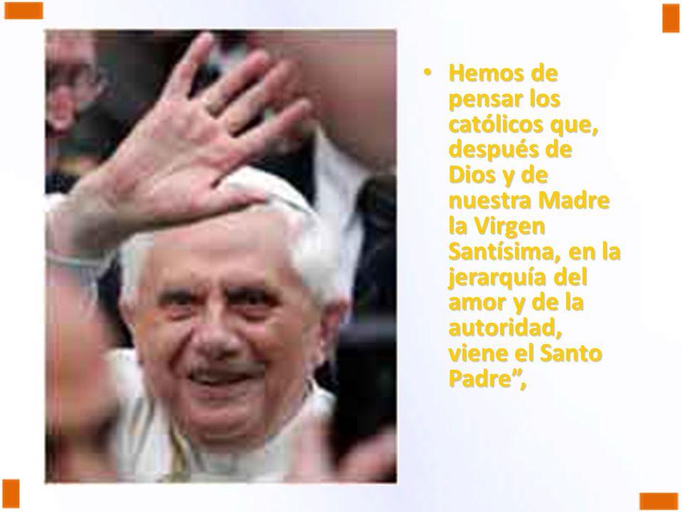Hemos de pensar los católicos que, después de Dios y de nuestra Madre la Virgen Santísima, en la jerarquía del amor y de la autoridad, viene el Santo