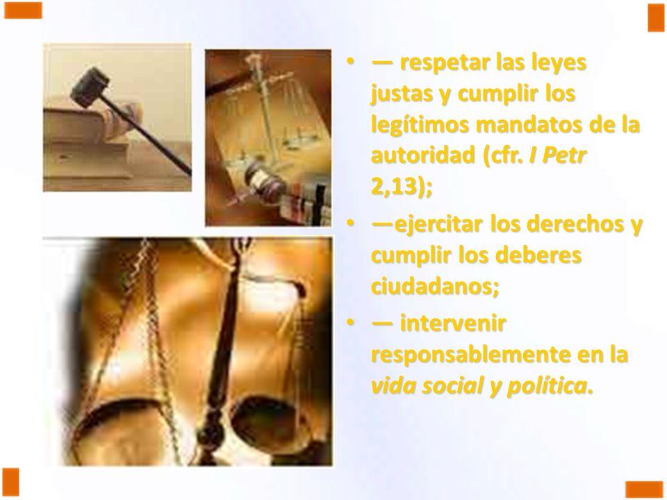 respetar las leyes justas y cumplir los legítimos mandatos de la autoridad (cfr. I Petr 2,13); respetar las leyes justas y cumplir los legítimos manda