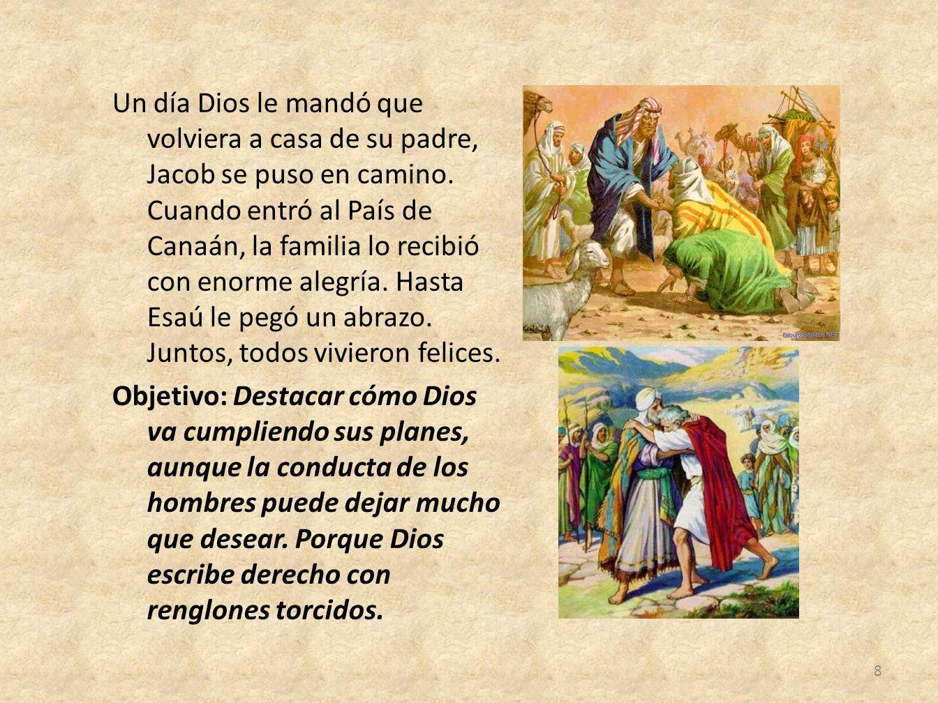 Un día Dios le mandó que volviera a casa de su padre, Jacob se puso en camino. Cuando entró al País de Canaán, la familia lo recibió con enorme alegrí
