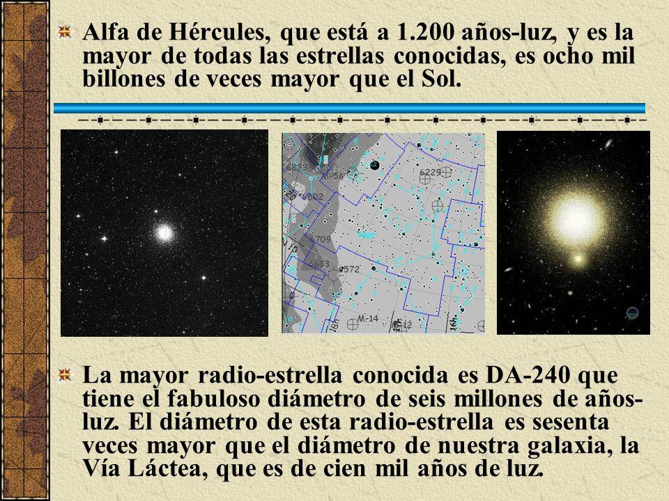 Alfa de Hércules, que está a 1.200 años-luz, y es la mayor de todas las estrellas conocidas, es ocho mil billones de veces mayor que el Sol. La mayor