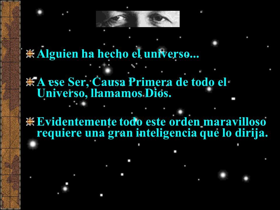 Alguien ha hecho el universo... A ese Ser, Causa Primera de todo el Universo, llamamos Dios. Evidentemente todo este orden maravilloso requiere una gr