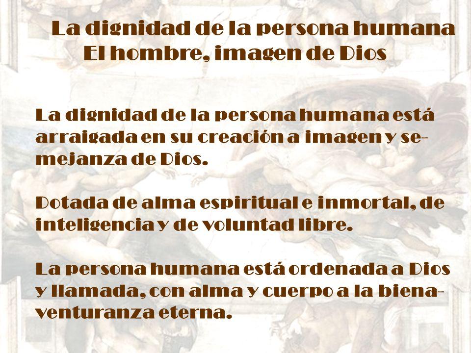 La dignidad de la persona humana El hombre, imagen de Dios La dignidad de la persona humana está arraigada en su creación a imagen y se- mejanza de Di