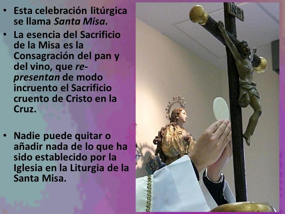 Esta celebración litúrgica se llama Santa Misa. La esencia del Sacrificio de la Misa es la Consagración del pan y del vino, que re- presentan de modo