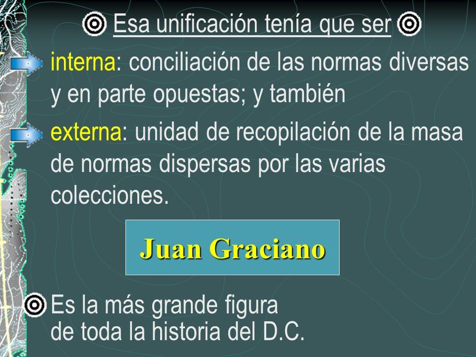 Esa unificación tenía que ser interna: conciliación de las normas diversas y en parte opuestas; y también externa: unidad de recopilación de la masa d