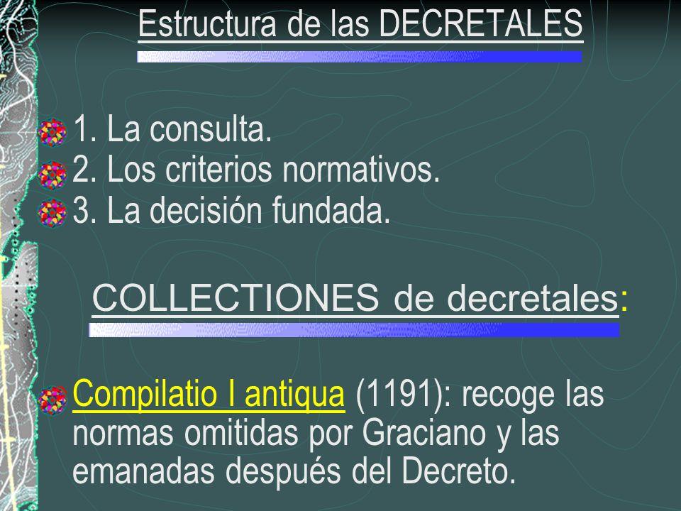 Estructura de las DECRETALES 1. La consulta. 2. Los criterios normativos. 3. La decisión fundada. COLLECTIONES de decretales: Compilatio I antiqua (11