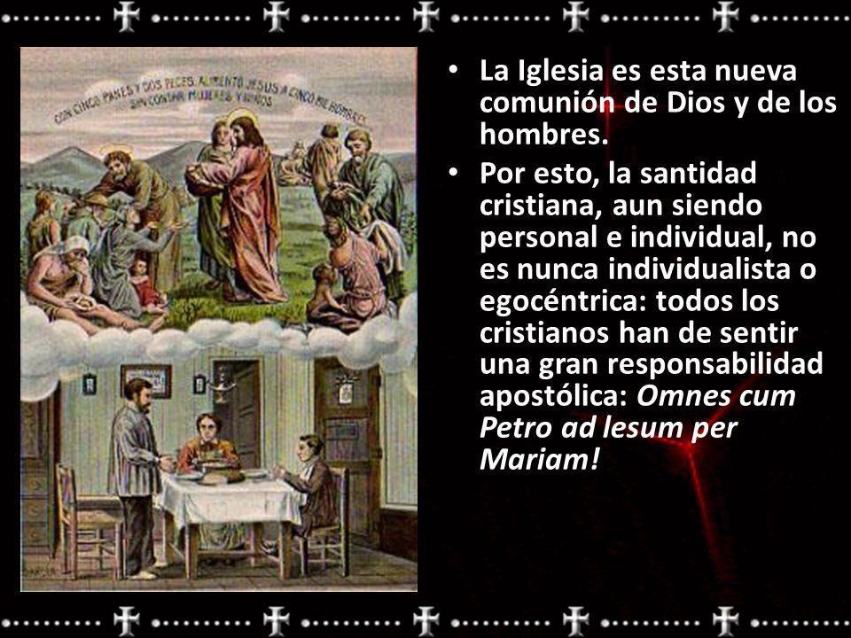 La Iglesia es esta nueva comunión de Dios y de los hombres. Por esto, la santidad cristiana, aun siendo personal e individual, no es nunca individuali