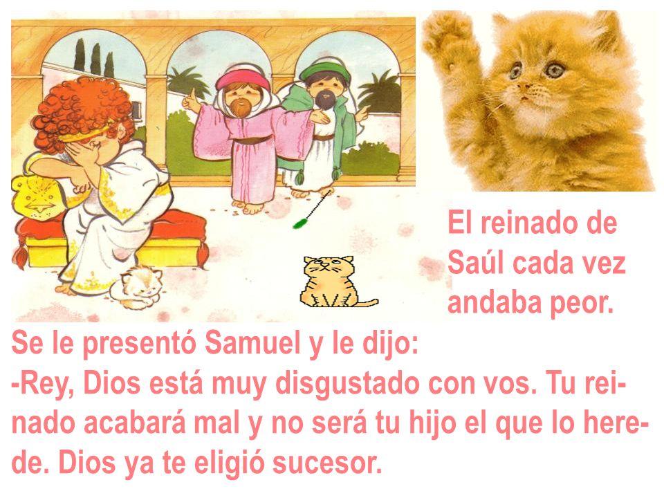 El reinado de Saúl cada vez andaba peor. Se le presentó Samuel y le dijo: -Rey, Dios está muy disgustado con vos. Tu rei- nado acabará mal y no será t