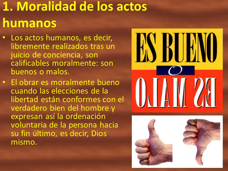 1. Moralidad de los actos humanos Los actos humanos, es decir, libremente realizados tras un juicio de conciencia, son calificables moralmente: son bu